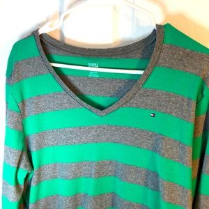 XXL vintage Tommy Hilfiger grey and green sweater